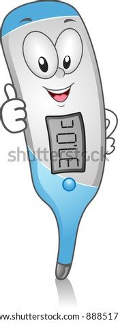 Illustration of a Digital Thermometer Giving a Thumbs Up