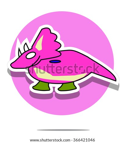 Illustration of a dinosaur with pink circle background - stock vector