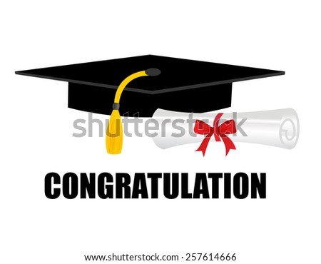 Illustration of a diploma and mortarboard cap symbolizing graduation. and congratulations text on bottom - stock vector