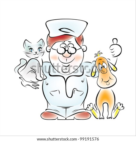 Illustration of a doctor - a veterinarian with a dog and a kitten in her arms. - stock vector