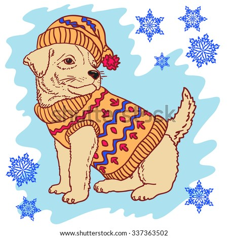 illustration of a dog on a winter background - stock vector