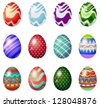 Illustration of a dozen of painted easter eggs on a white background - stock photo