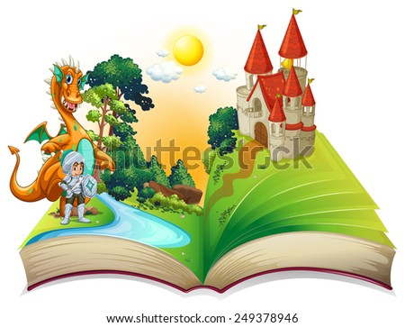 Illustration of a dragon and a knight in the storybook - stock vector