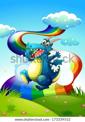 Illustration of a dragon at the hilltop and a rainbow in the sky - stock vector