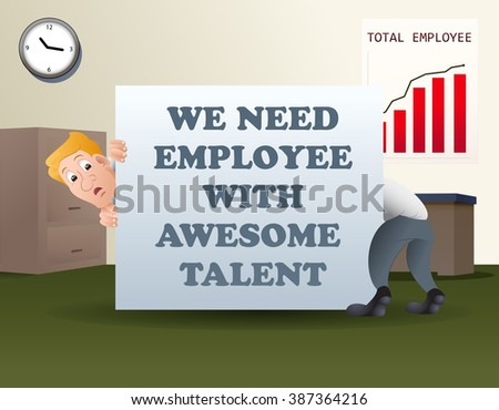 illustration of a elongated businessman behind banner on office background - stock vector