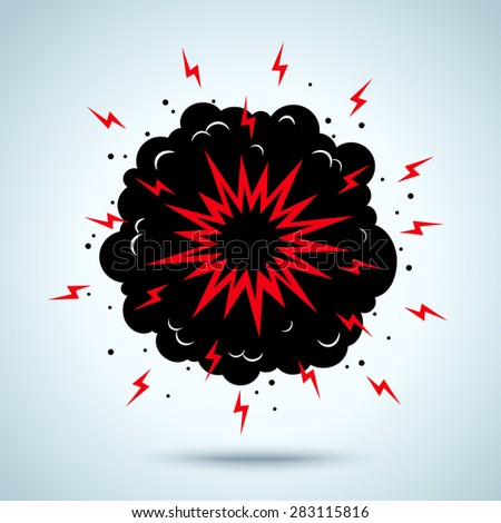 Illustration of a explosion and smoke - stock vector
