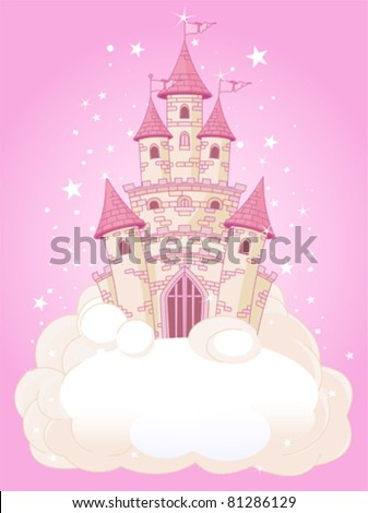 Illustration of a Fairy Tale princess pink castle in the sky - stock vector