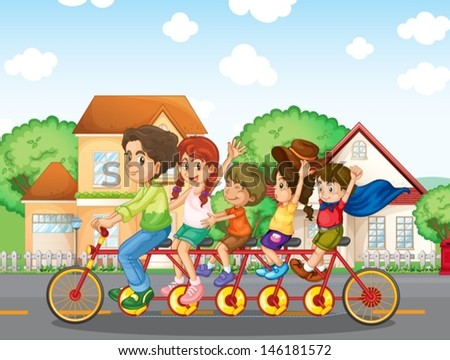 Illustration of a family biking together  - stock vector