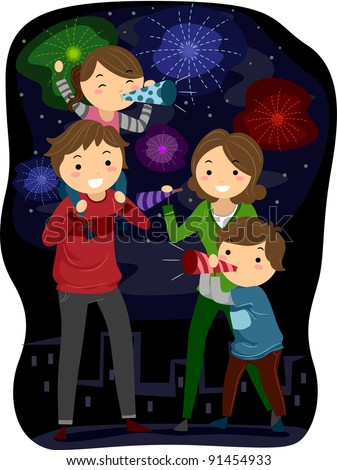 Illustration of a Family Celebrating the Coming of the New Year - stock vector