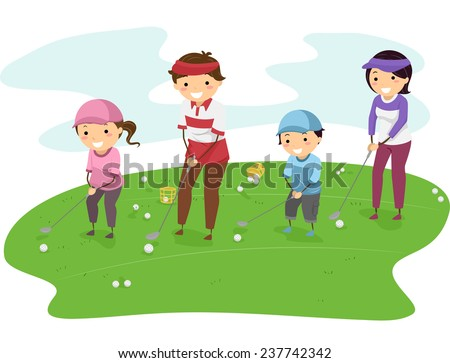 Illustration of a Family in a Golf Course Playing Golf Together - stock vector