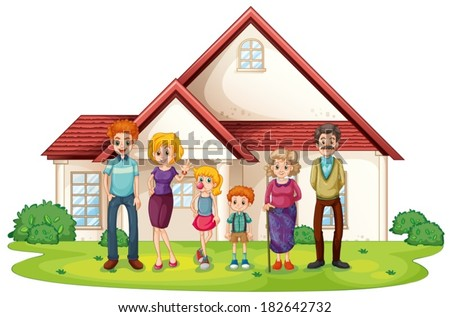 Illustration of a family in front of their big house on a white background