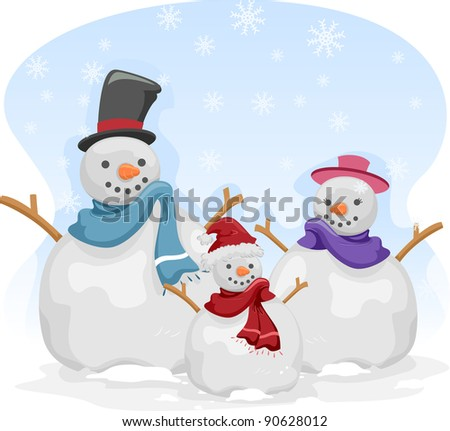 Illustration of a Family of Snowmen