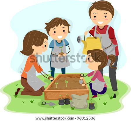 Illustration of a Family Planting Plants Together - stock vector