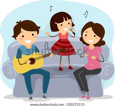 Illustration of a Family Singing Together