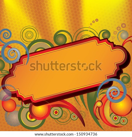 Illustration of a fancy sign with bursts of color surrounding its frame. Perfect for writing your own title message. - stock vector
