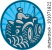 Illustration of a farmer plowing with vintage tractor viewed from the rear set inside oval done in retro style. - stock photo