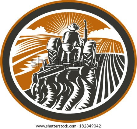 Illustration of a farmer worker driving a vintage tractor plowing farm field set inside oval shape done in retro woodcut style on isolated background. - stock vector