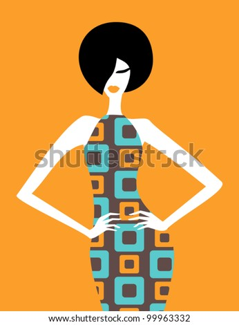 Illustration of a fashion model posing in an elegant retro dress. - stock vector