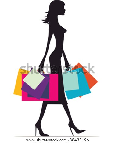 Illustration of a fashionable woman with lots of bags