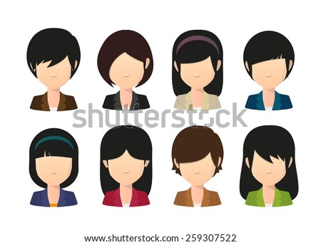 Illustration of a female asian avatar wearing suit - stock vector