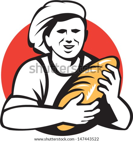 Illustration of a female baker chef cook holding loaf of bread set inside circle done in retro style. - stock vector