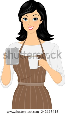 Illustration of a Female Barista Preparing a Cup of Coffee - stock vector