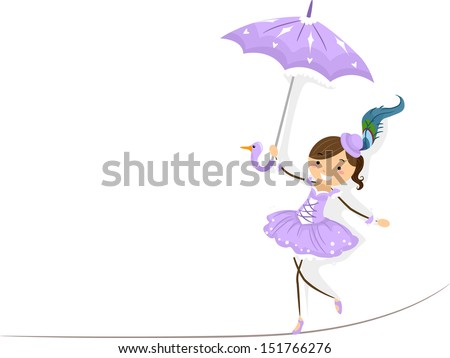 Illustration of a Female Circus Performer Walking on a Tightrope - stock vector