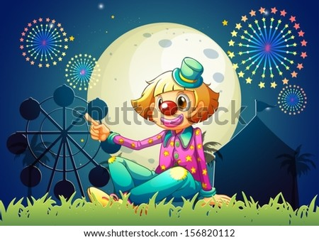 Illustration of a female clown at the carnival - stock vector
