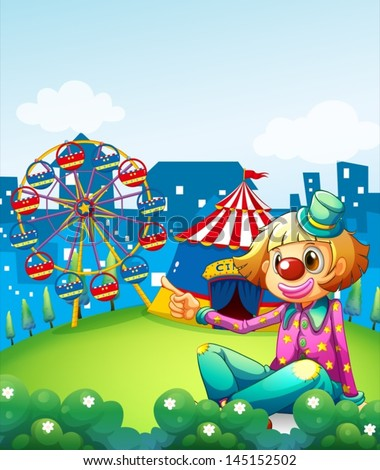 Illustration of a female clown pointing the carnival - stock vector