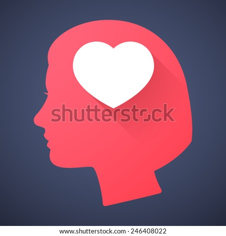 Illustration of a female head silhouette with a heart - stock vector