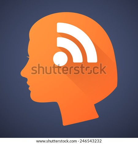 Illustration of a female head silhouette with a RSS sign
