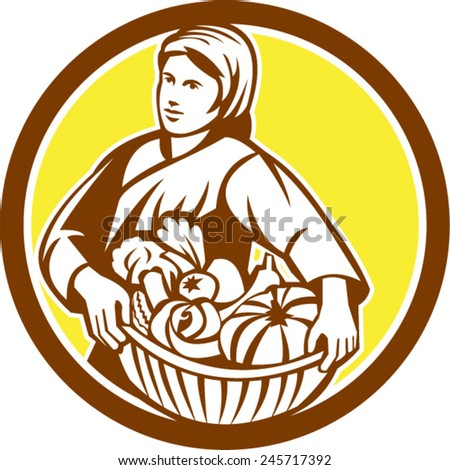 Illustration of a female organic farmer carrying basket full of vegetables fruits harvest looking to the side set inside circle on isolated background done in retro style.  - stock vector