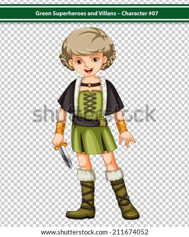 Illustration of a female viking warrior - stock vector