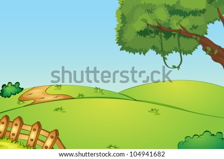 Illustration of a field and a fence - stock vector