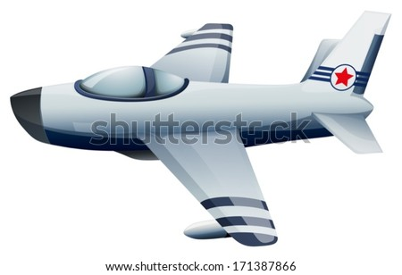 Illustration of a fighter jet with a star on a white background - stock vector