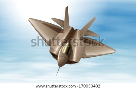Illustration of a fighterjet in the air - stock vector