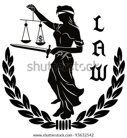 Illustration of a figure law and justice - stock vector