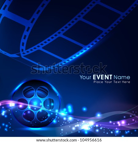 Illustration of a film stripe or film reel on shiny blue movie background. EPS 10 - stock vector