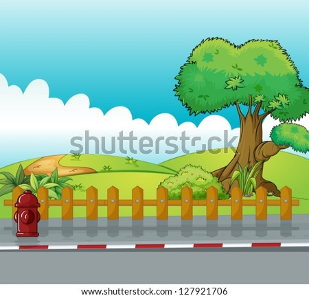 Illustration of a fire hydrant and a beautiful landscape