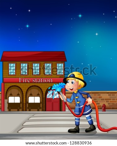 Illustration of a fireman near a fire station - stock vector