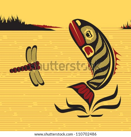 illustration of a fish and a dragonfly jumping in the water in native Canadian art style - stock vector
