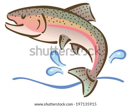 Illustration Of A Fish Jumping Out Water