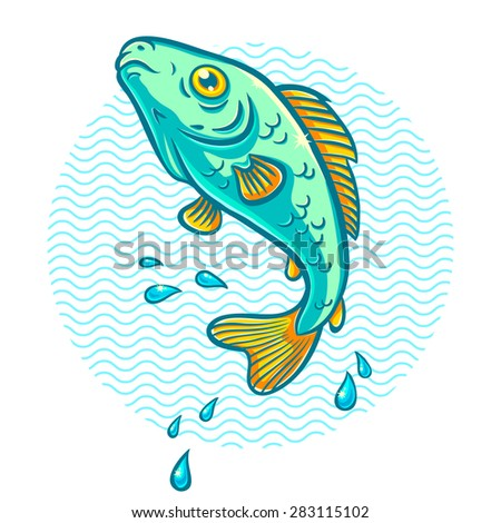 illustration of a fish jumping out of water - stock vector