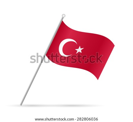 Illustration of a flag from Turkey isolated on a white background. - stock vector
