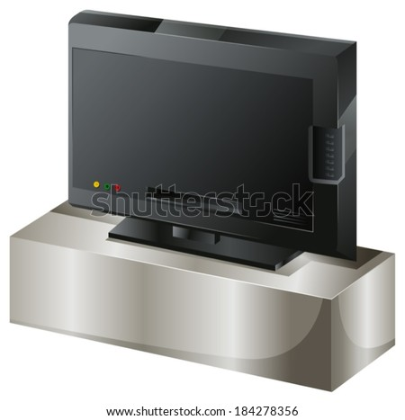 Illustration of a flat screen television on a white background - stock vector