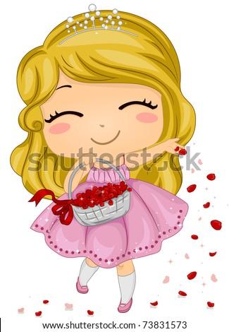 Illustration of a Flower Girl Scattering Petals - stock vector
