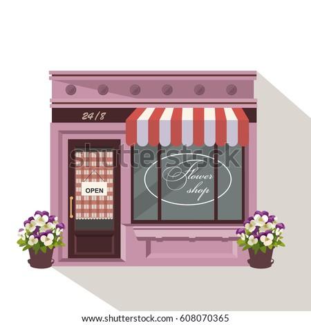 Illustration Flowers Shop Little Cute Retro 608070365