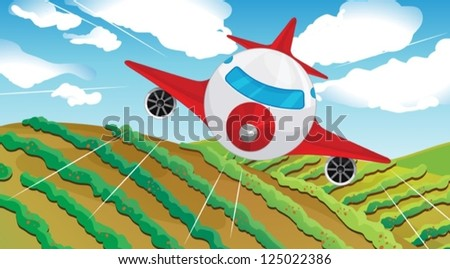 Illustration of a flying airplain and a beautiful landscape