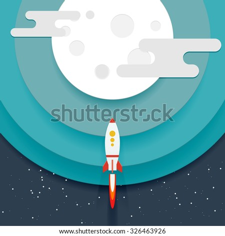 Illustration of a flying rocket near cartoon planet. Papercut origami style - stock vector