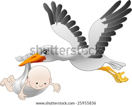 Illustration of a flying stork delivering a newborn baby - stock vector